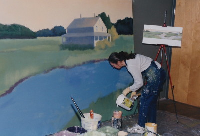 Judy working on mural